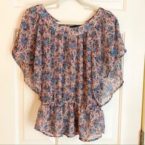 Women's Floral Sheer Top Size M